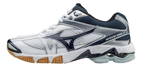 Womens Mizuno Wave Bolt 6 Court Shoe - White/Navy 6