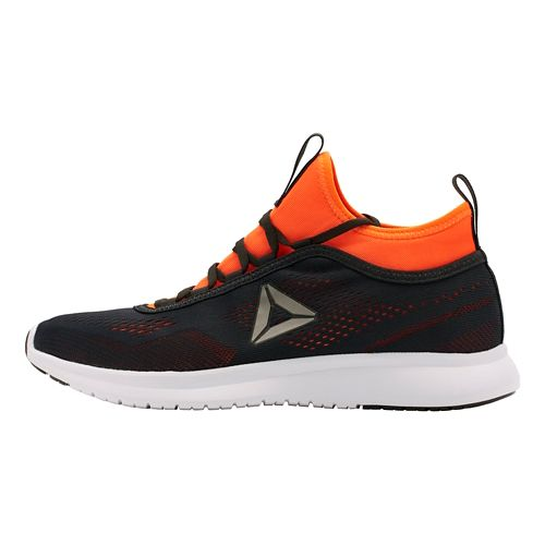 Mens Reebok Plus Runner Tech Running Shoe - Lead/Orange 9.5