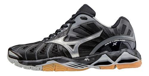 Womens Mizuno Wave Tornado X Court Shoe - Black/Silver 6.5
