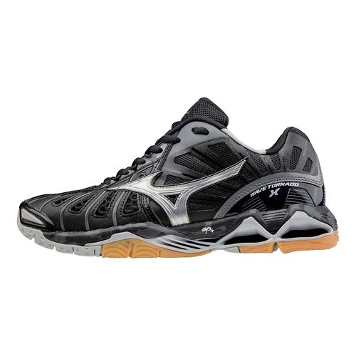 Womens Mizuno Wave Tornado X Court Shoe - Black/Silver 7.5