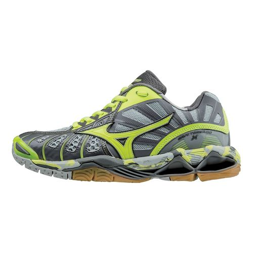 Womens Mizuno Wave Tornado X Court Shoe - Grey/Yellow 7.5