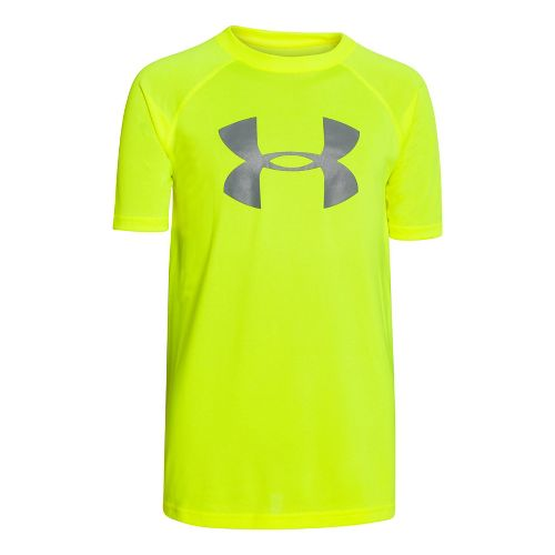 Under Armour Boys Tech Big Logo Short Sleeve Technical Tops - Black/Red YL
