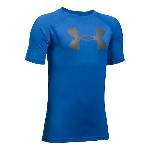 Under Armour Boys Tech Big Logo Short Sleeve Technical Tops - Ultra Blue/Graphite YL