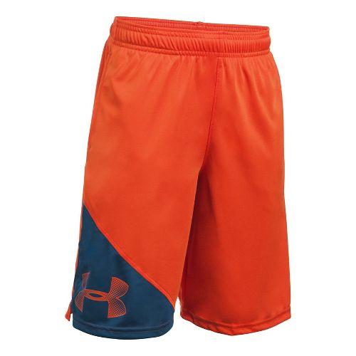 Under Armour Boys Tech Prototype Shorts - Dark Orange/Navy YXS