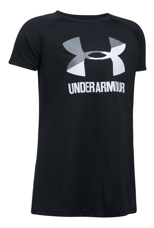Under Armour Girls Big Logo Tee Technical Tops - Black/Steel YXL