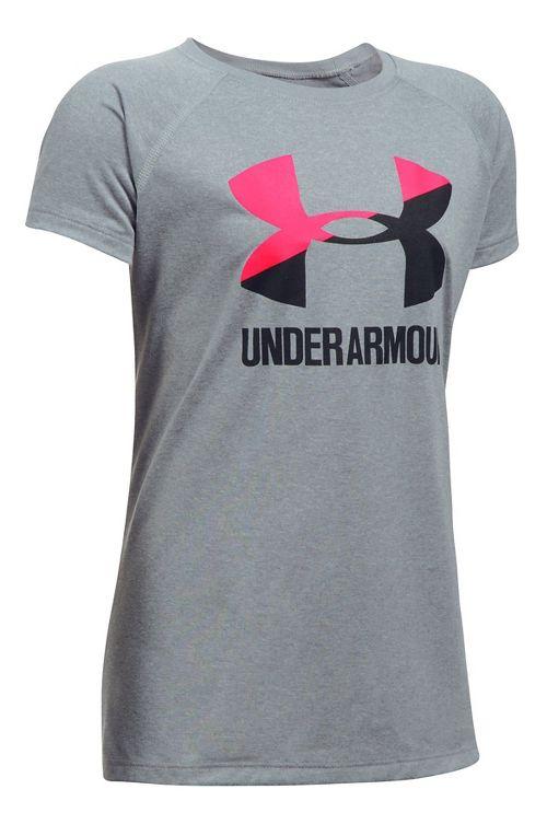 Under Armour Girls Big Logo Tee Technical Tops - Steel Heather/Pink YXS