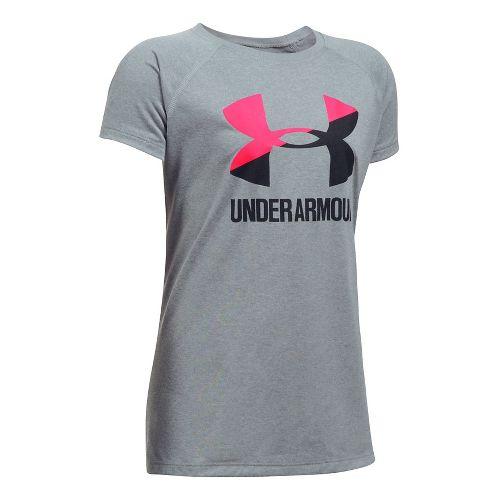 Under Armour Girls Big Logo Tee Technical Tops - Steel Heather/Pink YXL