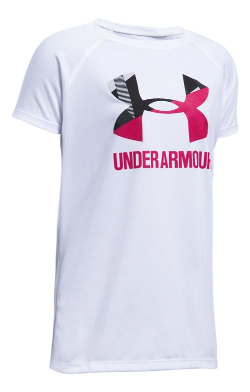 Under Armour Girls Big Logo Tee Technical Tops - White/Honeysuckle YS