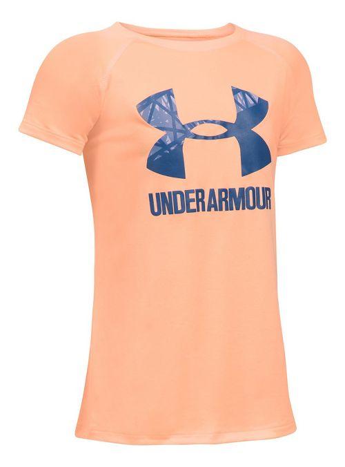 Under Armour Girls Big Logo Tee Technical Tops - Peach/Periwinkle YXL