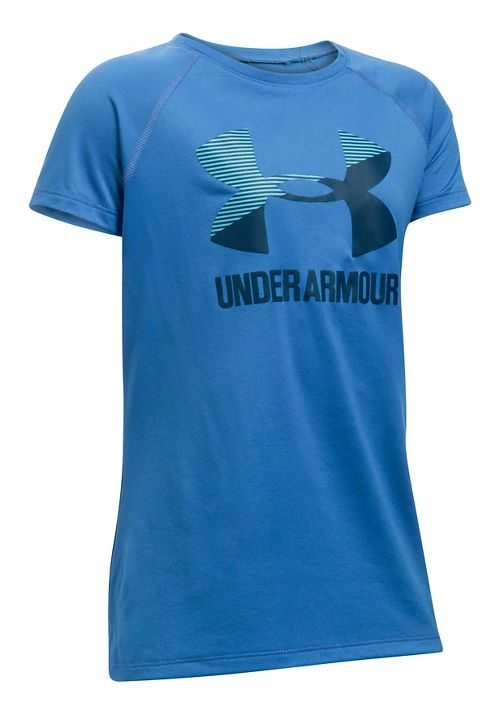 Under Armour Girls Big Logo Tee Technical Tops - Mediterranean/Navy YL