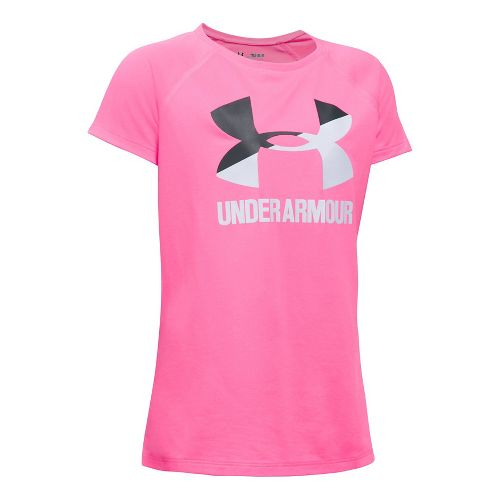 Under Armour Girls Big Logo Tee Technical Tops - Pink/Stealth Grey YL