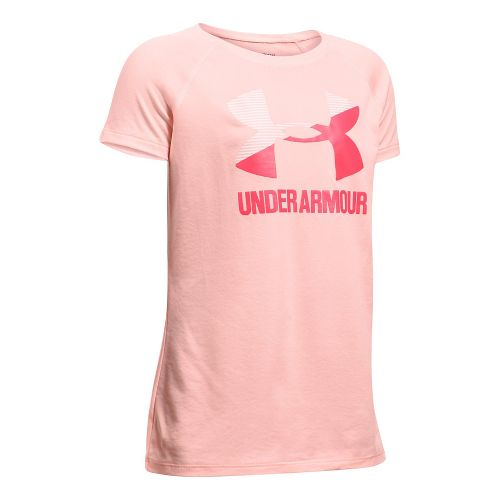 Under Armour Girls Big Logo Tee Technical Tops - Ballet Pink/Gala YL