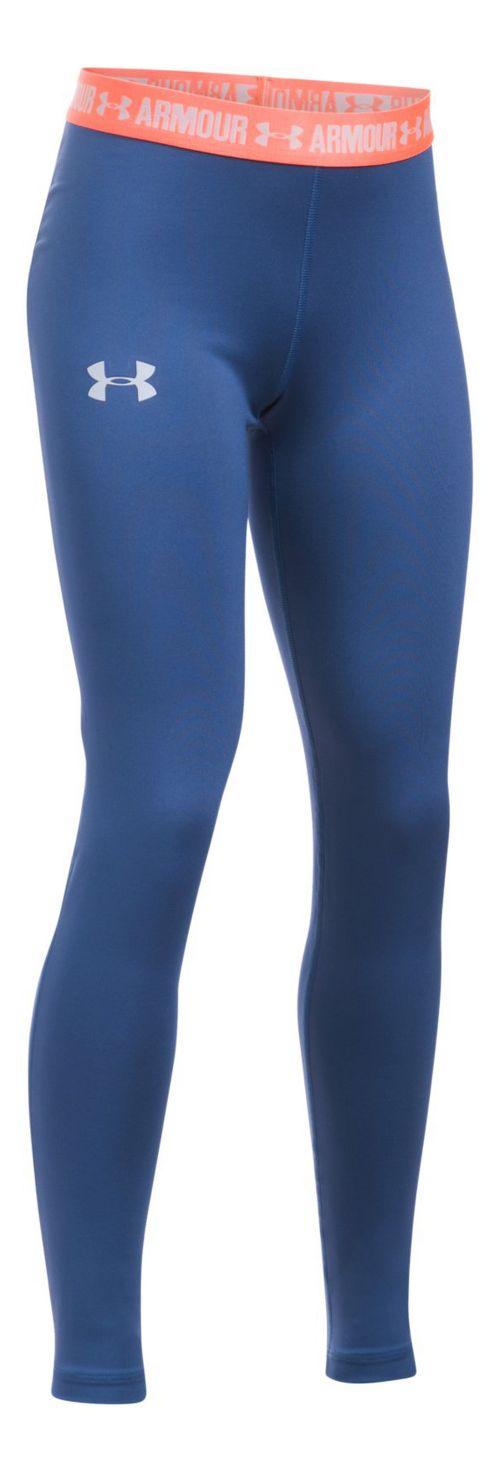 Under Armour Girls Armour Heatgear Legging Pants - Periwinkle/Orange YL