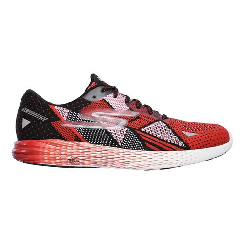 Mens Skechers GO Meb Razor Running Shoe - Black/Red 7.5