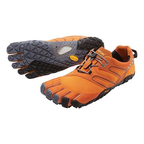Mens Vibram FiveFingers V-Trail Running Shoe - Orange/Grey/Black 44