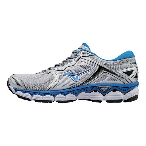 Mens Mizuno Wave Sky Running Shoe - Silver/Blue 7.5