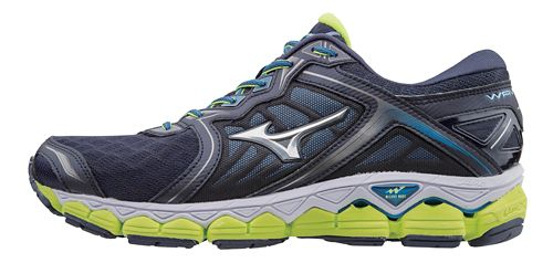 Mens Mizuno Wave Sky Running Shoe - Navy/Yellow 7.5