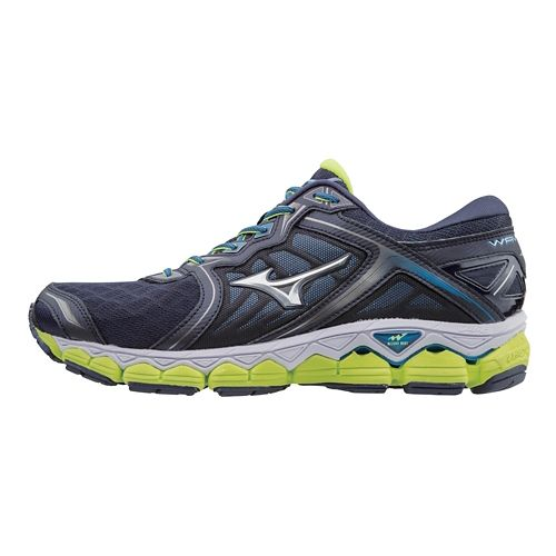 Mens Mizuno Wave Sky Running Shoe - Navy/Yellow 11.5