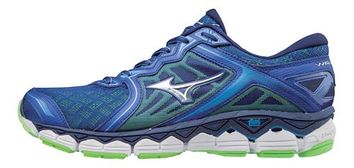 Mens Mizuno Wave Sky Running Shoe - Grey/Lime 7.5