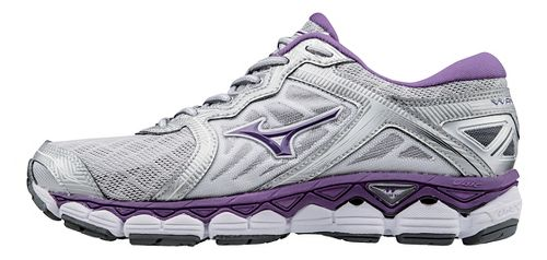 Womens Mizuno Wave Sky Running Shoe - Silver/Purple 6