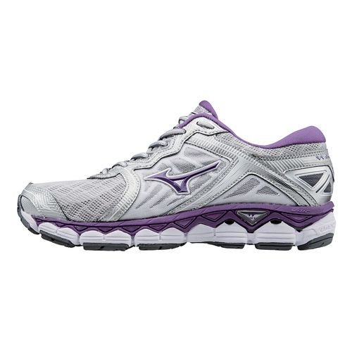 Womens Mizuno Wave Sky Running Shoe - Silver/Purple 10.5