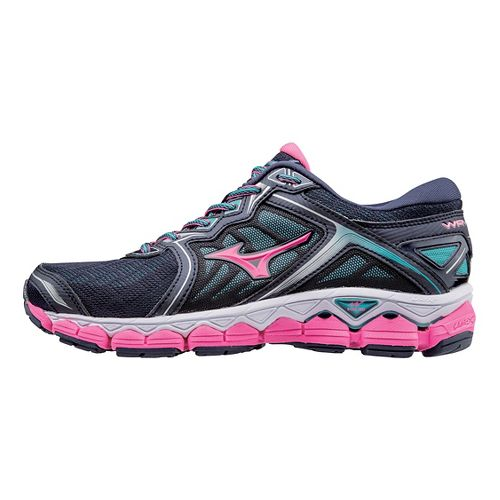 Womens Mizuno Wave Sky Running Shoe - Teal/Yellow 7.5