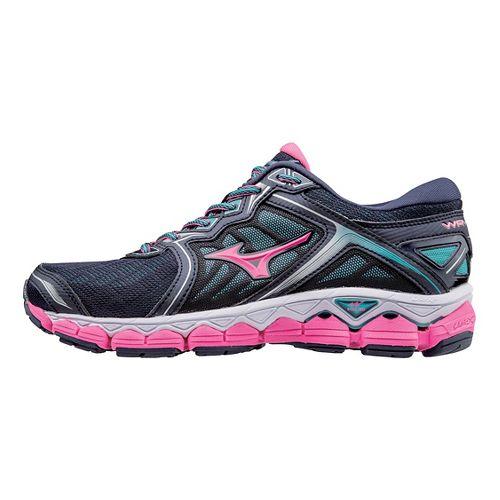 Womens Mizuno Wave Sky Running Shoe - Peacoat/Pink 7.5