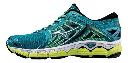 Womens Mizuno Wave Sky Running Shoe - Teal/Yellow 8.5