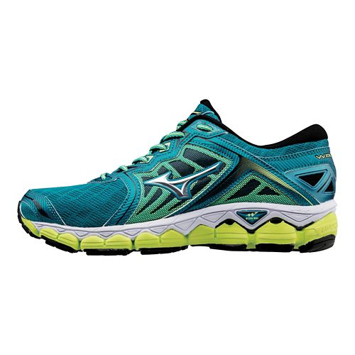Womens Mizuno Wave Sky Running Shoe - Teal/Yellow 11