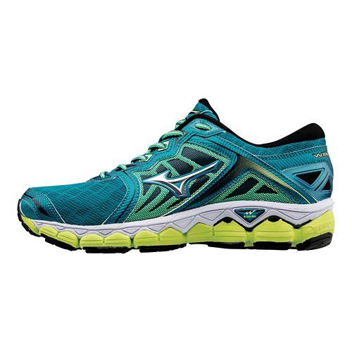 Womens Mizuno Wave Sky Running Shoe - Teal/Yellow 9.5
