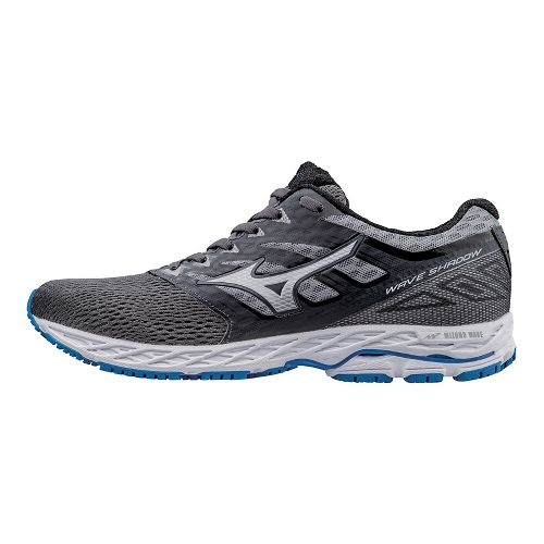 Mens Mizuno Wave Shadow Running Shoe - Iron/Blue 10.5