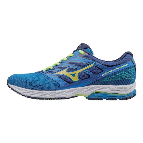 Mens Mizuno Wave Shadow Running Shoe - Blue/Yellow 8.5
