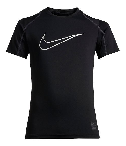 Nike Boys Pro Hypercool Fitted Short Sleeve Technical Tops - Black/Anthracite YXL