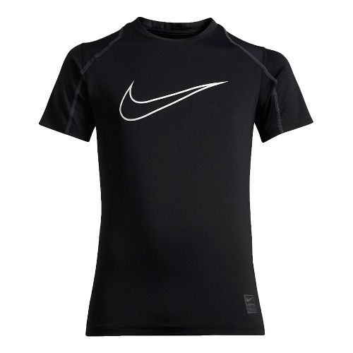 Nike Boys Pro Hypercool Fitted Short Sleeve Technical Tops - Black/Anthracite YL