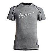 Nike Boys Pro Hypercool Fitted Short Sleeve Technical Tops - Carbon Heather/Black YXL