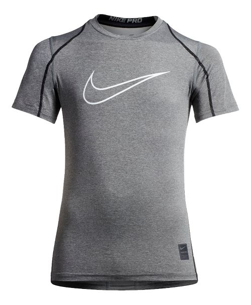 Nike Boys Pro Hypercool Fitted Short Sleeve Technical Tops - Carbon Heather/Black YM