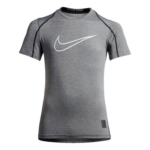 Nike Boys Pro Hypercool Fitted Short Sleeve Technical Tops - Carbon Heather/Black YL