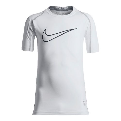 Nike Boys Pro Hypercool Fitted Short Sleeve Technical Tops - White/Matte Silver YM