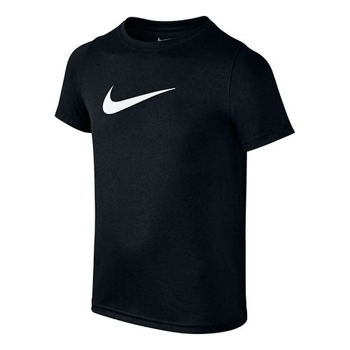 Nike Boys Dry Swoosh Solid Short Sleeve Technical Tops - Black/White YS