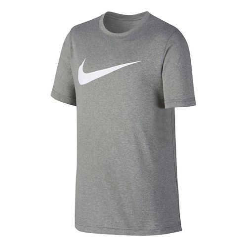 Nike Boys Dry Swoosh Solid Short Sleeve Technical Tops - Dark Grey/White YS