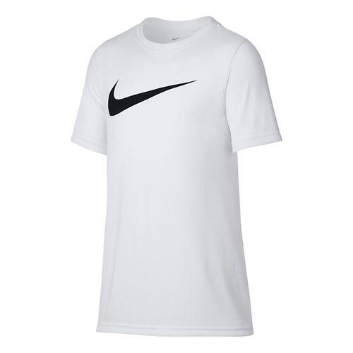 Nike Boys Dry Swoosh Solid Short Sleeve Technical Tops - White/Black YM