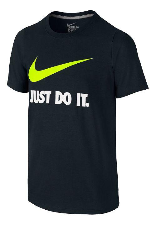 Nike Boys Just Do It Swoosh Tee Short Sleeve Technical Tops - Black/Volt YM