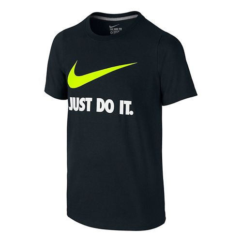 Nike Boys Just Do It Swoosh Tee Short Sleeve Technical Tops - Black/Volt YM