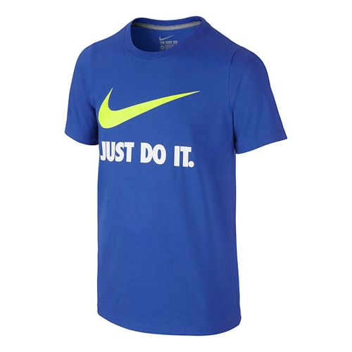 Nike Boys Just Do It Swoosh Tee Short Sleeve Technical Tops - Game Royal/Volt YL