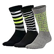 Nike Kids Performance Cushion Crew Socks 3 pack - Black/Grey M