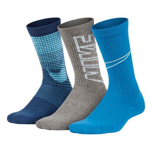 Nike Kids Performance Cushion Socks 3 pack - Blue/Grey M