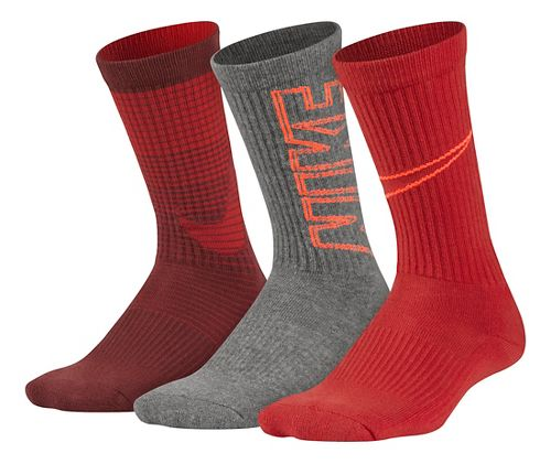 Nike Kids Performance Cushion Socks 3 pack - Red/Grey M