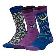 Nike Girls Performance Lightweight Crew Socks 3 pack - Multi S