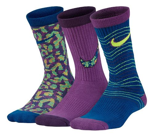 Nike Girls Performance Lightweight Crew Socks 3 pack - Multi M