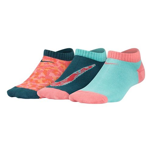 Nike Girls Performance Lightweight No Show Socks 3 pack - Multi S